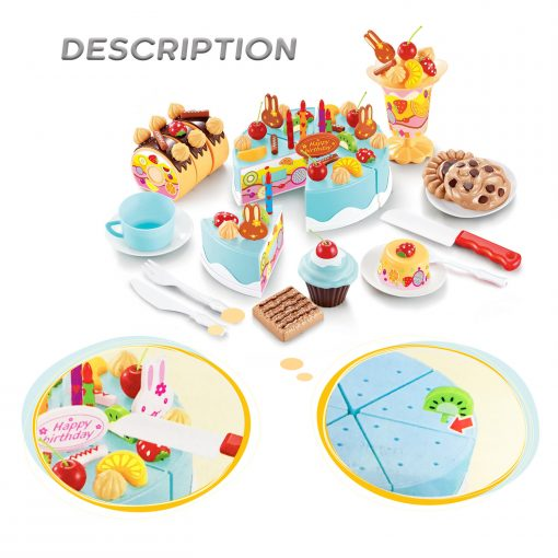 Birthday Cake Play Food Set Light Blue 75 Pieces Plastic Kitchen Cutting Toy Pretend Play