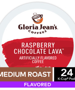 Gloria Jean's Raspberry Chocolate Lava Flavored K-Cup Pods, Light Roast, 24 Count for Keurig Brewers