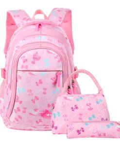 Girls School Backpack Set, Vbiger 3 in 1 Student Book Bags Set – Bookbag+Shoulder Bag+Pencil Case Water-Resistant, Pink