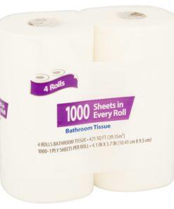 Great Value 1000 Sheets Bath Tissue, 4 Rolls
