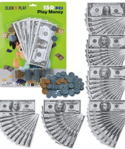 Click N' Play Pretend Play Money for Kids Realistic Bills and Coins Counting Math Currency Set of 150 Pieces.