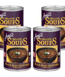 (4 Pack) Amy's Organic Low Fat Black Bean Vegetable Soup, 14.5 oz