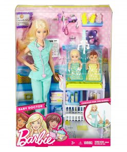 Barbie Careers Baby Doctor Barbie Doll, Blonde, with 2-Patients