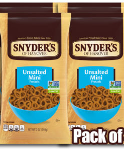 Snyder's of Hanover Unsalted Mini Pretzels, 12 Ounce Bag (Pack of 4)
