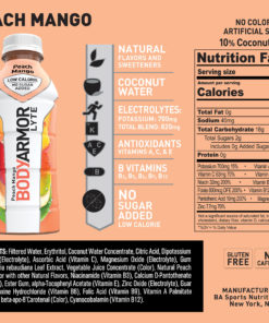 BODYARMOR LYTE Sports Drink, Peach Mango, 16 Fl. Oz., 12 count