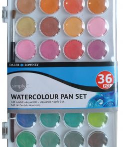 Daler-Rowney Simply Watercolor Set, Watercolor Pan Set, 36 Piece