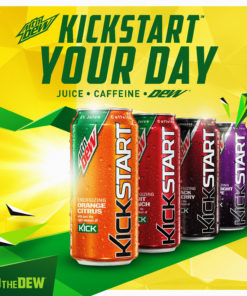 Mtn Dew Kickstart, Pineapple Orange Mango, 12oz Sleek Cans (Pack of 18)