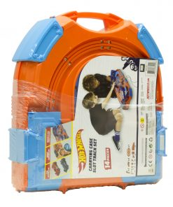 Hot Wheels Slot Track Pack with Carrying Case, Two 1:64 Cars, and 5.5 Feet of Track