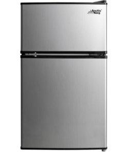 Arctic King 3.2 Cu Ft Two Door Mini Fridge with Freezer, Stainless Steel