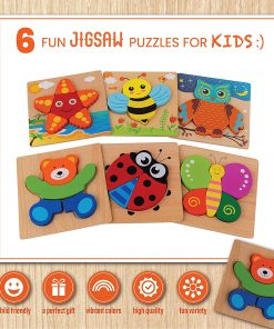 Toy To Enjoy Wooden Chunky Animal Jigsaw Puzzle (Pack of 6) for Kids Age 3 to 5 – Animal Peg Puzzle Toy for Toddlers – Bear, Butterfly Owl, Honey Bee, Starfish, Ladybug – Bright Colors & Shapes