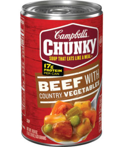 (4 pack) Campbell's Chunky Soup, Beef with Country Vegetables Soup, 18.8 Ounce Can