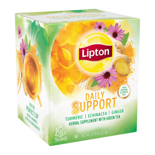 (2 pack) Lipton Herbal Supplement with Green Tea Daily Support, 15 Ct