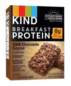 KIND Breakfast Bars 4 ct, Dark Chocolate Cocoa Breakfast Protein Bar, Gluten Free, 8g Protein