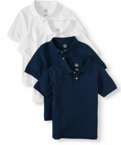 Wonder Nation Boys 4-18 School Uniform Short Sleeve Pique Polo Shirts, 4-Pack Value Bundle
