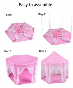 Porpora Hexagon Princess Castle Play Tent Indoor for Kids Gift with 23ft star lights, X-Large, Pink 55″x 53″(DxH)