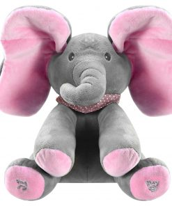 12″ Stuffed Plush Elephant Doll Peek-a-Boo Elephant Animated Talking Singing Cute Elephant Baby Doll Toy for Toddlers Kids Boys Girls Gift