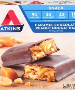 Atkins Snack Caramel Chocolate Peanut Nougat Bars 5-pack