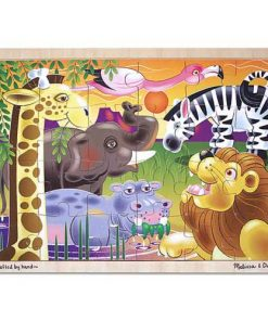 African Plains Safari Wooden Jigsaw Puzzle With Storage Tray (24 pcs)