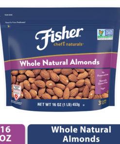 FISHER Chef's Naturals Whole Almonds, 16 oz, Naturally Gluten Free, No Preservatives, Non-GMO