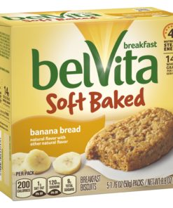 belVita Soft Baked Banana Bread Breakfast Biscuits, 5 Packs (1 Biscuit Per Pack)