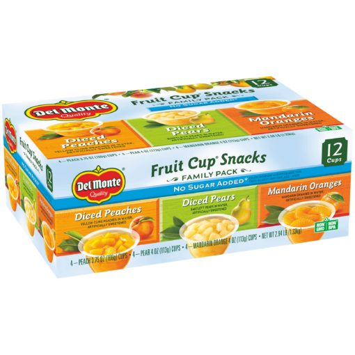 (12 Cups) Del Monte Fruit Cup Snacks No Sugar Added Assorted Flavors, 4 oz fruit cups