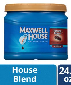 Maxwell House Medium Roast House Blend Ground Coffee, Caffeinated, 24.5 oz Can
