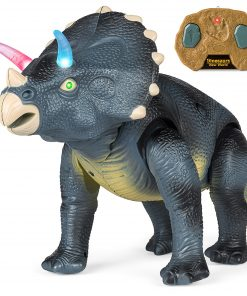 Best Choice Products 14.5in Kids Remote Control Walking Triceratops Dinosaur Toy Robot w/ Light Up Eyes, Roaring Sounds