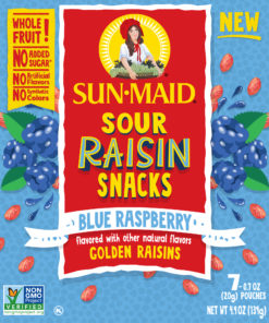 Sun-Maid Sour Raisin Snacks, Blue Raspberry, 7 ct, 0.7 oz