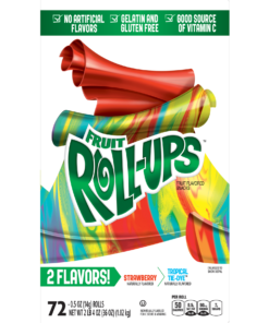Betty Crocker Fruit Rollups Fruit Flavored Snacks Strawberry/Tropical Tie Dye, 72 ct, 36 oz, 0.5 OZ