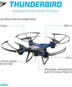 Sky Rider Thunderbird Quadcopter Drone with Wi-Fi Camera, DRW389, Black