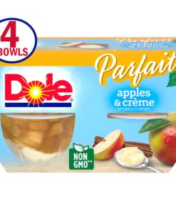 Dole Fruit Bowls Apples & Creme Parfait, 4.3 Oz Fruit Parfait, 4 Cups