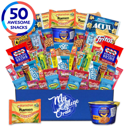 My College Crate Microwaveables Ultimate Snack Care Package for College Students – Variety Assortment of Microwaveables, Mac & Cheese, Popcorn, Ramen, Chips, Gummies & Candies (50 Snacks)