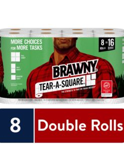 Brawny Tear-A-Square Paper Towels, 8 Double Rolls