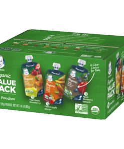 (Pack of 9) Gerber Organic 2nd Food Baby Food Value Pack, Pear Peach Strawberry, Carrot Apple Mango & Apple Blueberry Spinach, 3.5 oz Pouches