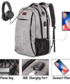 RFID-Safe Travel Laptop Backpack with USB Charging Port
