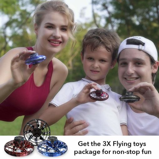 2020 FlyNova Flying Toy, Hand Operated Drones for Kids and Adults -UF0 Drone Flying Toy Hand Controlled, with 360° Rotating and Shinning LED Lights – Red – Blue – Black