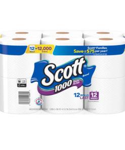 Scott 1000 Toilet Paper, 12 Rolls, 12,000 Sheets
