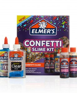 Elmer's Confetti Slime Kit: Supplies Include Metallic & Clear Glue, Confetti Magical Liquid Activator, 4 Count