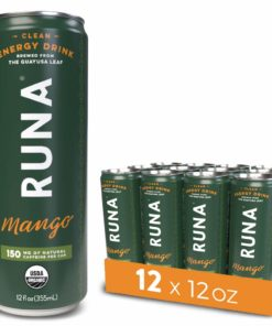 RUNA Organic Clean Energy Drink from the Guayusa Leaf, Mango, Naturally Sweetened, 12 fl oz, 12 count