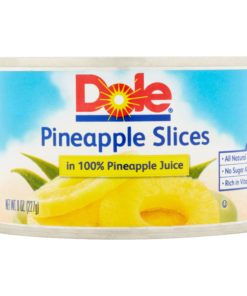 Dole Pineapple Slices in 100% Pineapple Juice, All Natural Canned Pineapple, 8 Oz