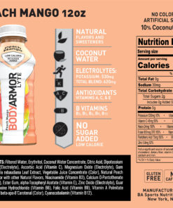 BODYARMOR LYTE Sports Drink, Peach Mango, 12 Fl. Oz., 8 count