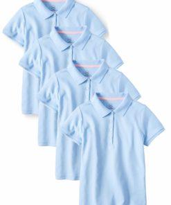 Wonder Nation Girls School Uniform Short Sleeve Interlock Polo Shirt, 4-Pack Value Bundle, Sizes 4-18