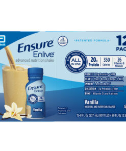 Ensure Enlive Meal Replacement Shake, 20g Protein, 350 Calories, Advanced Nutrition Protein Shake, Vanilla, 8 fl oz, 12 Bottles
