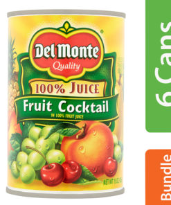 (6 Pack) Del Monte 100% Juice Fruit Cocktail, 15 oz