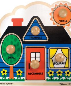 First Shapes Jumbo Knob Puzzle (Colorful Artwork, Extra-Thick Wooden Construction, 5 Pieces, 15.5″ H × 11.2″ W × 1.6″ L)