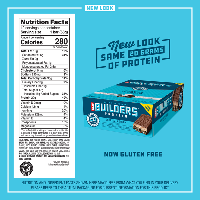 Clif Builders Protein Bars, Cookies N Cream, 20g Protein ...
