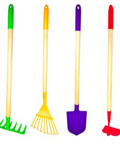 G & F Products Just For Kids Kids Garden Tool Set Toy, Rake, Spade, Hoe and Leaf Rake, reduced size, 4-Piece