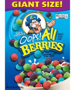Cap'n Crunch Breakfast Cereal, Oops! All Berries, 21.3 oz Box