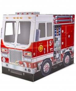 Fire Truck Indoor Corrugate Cardboard Playhouse (4 Feet Long)