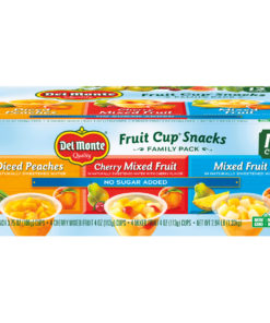 (12 Cups) Del Monte Fruit Cup Snacks Variety Pack (Peaches, Cherry Mixed Fruit, Mixed Fruit), 4 oz cups